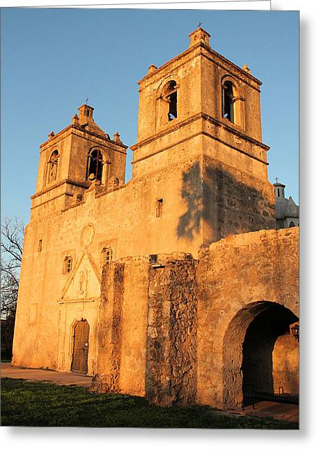Sunset At Mission Concepcion Greeting Card