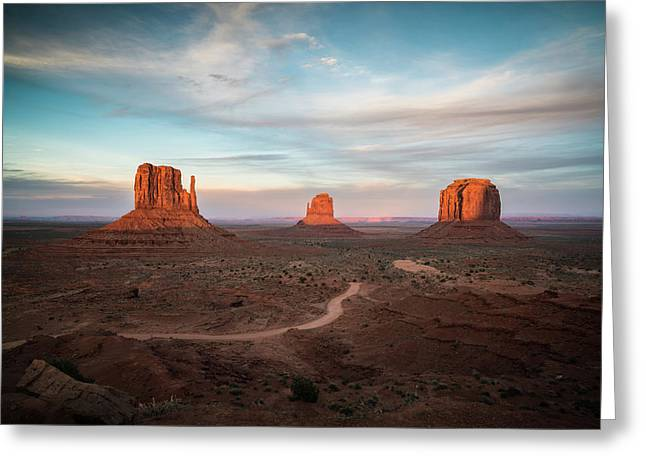 Sunset At Monument Valley Greeting Card by James Udall
