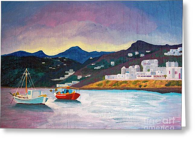 Sunset At Mykonos Greeting Card