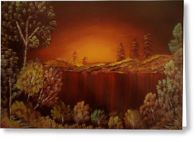 Sunset At Nainital Greeting Card