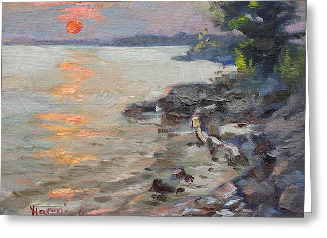 Sunset At Niagara River Greeting Card by Ylli Haruni