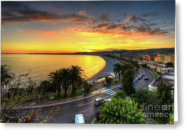 Greeting Card featuring the photograph Sunset At Nice by Yhun Suarez