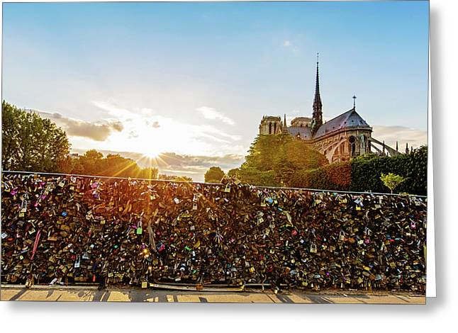 Sunset At Notre Dame De Paris Greeting Card