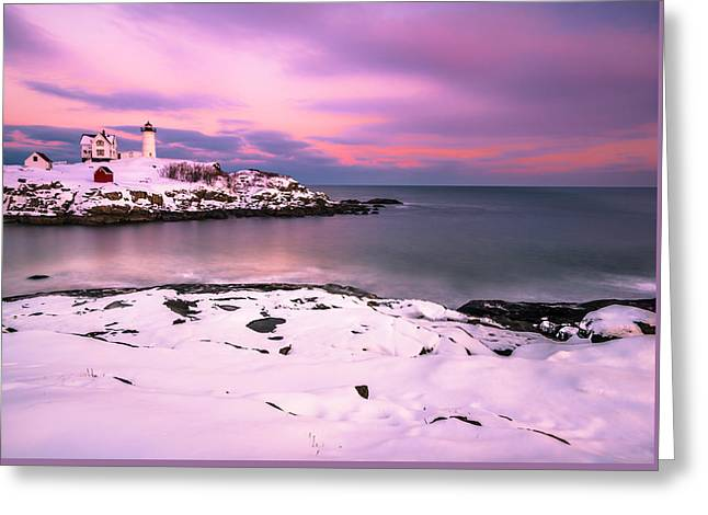 Sunset At Nubble Lighthouse In Maine In Winter Snow Greeting Card