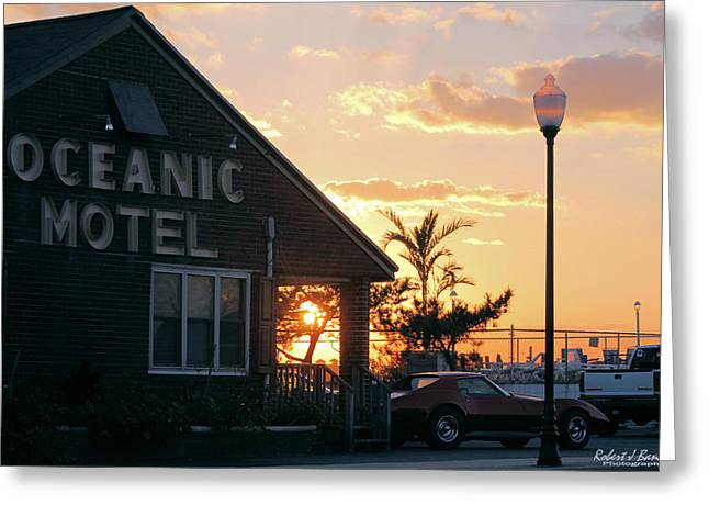 Sunset At Oceanic Motel Greeting Card