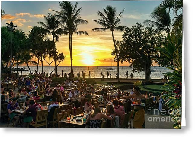 Sunset At Old Lahaina Luau #1 Greeting Card