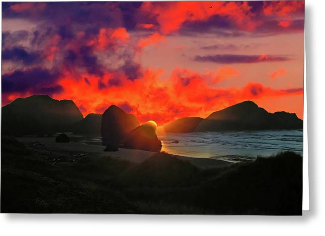Sunset At Oregon Beach Greeting Card