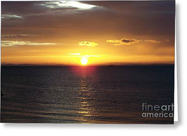 Sunset At Pacific Shores Greeting Card by Dindin Coscolluela