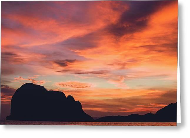 Sunset At Pak Meng Beach Trang Province Thailand Greeting Card