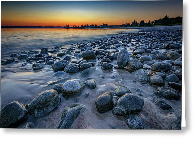 Sunset At Pemaquid Beach Greeting Card by Rick Berk