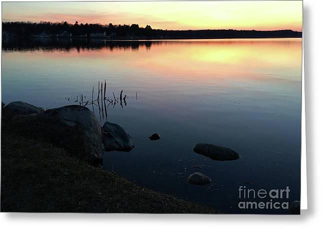 Sunset At Pentwater Lake Greeting Card