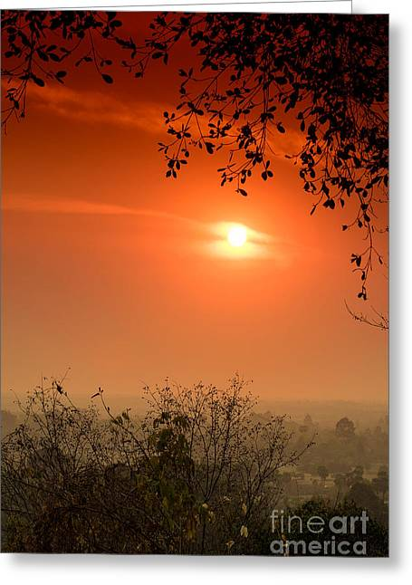 Sunset At Phnom Bakheng Of Angkor Wat Greeting Card