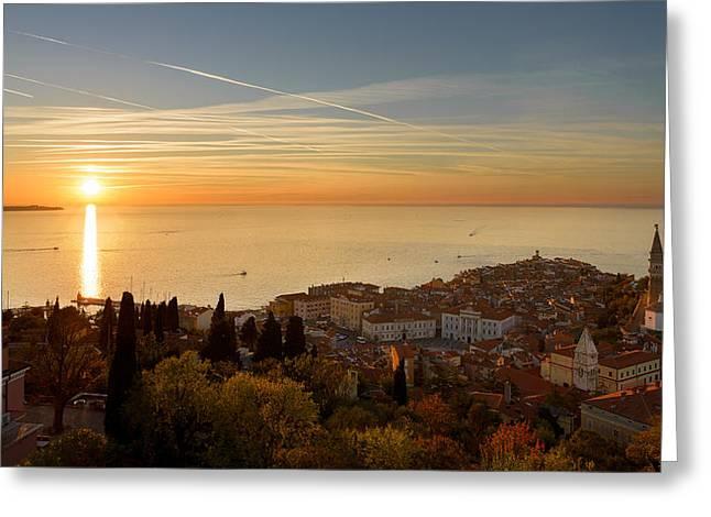 Sunset At Piran Greeting Card
