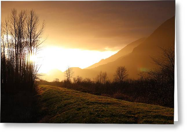 Sunset At Pitt Lake Dyke Greeting Card