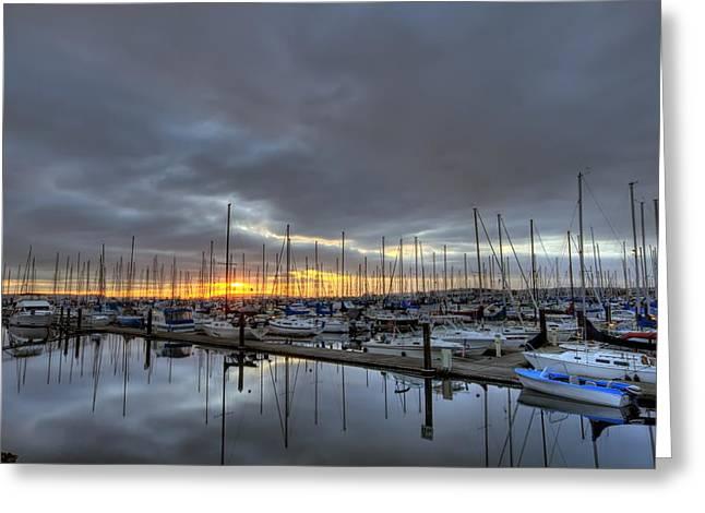 Sunset At Port Gardner Greeting Card