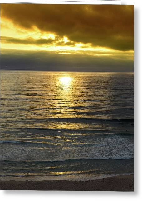 Sunset At Praia Pequena, Small Beach In Sintra Portugal Greeting Card