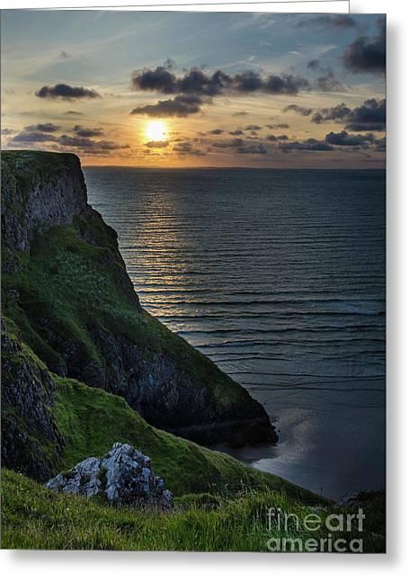Sunset At Rhossili Bay Greeting Card