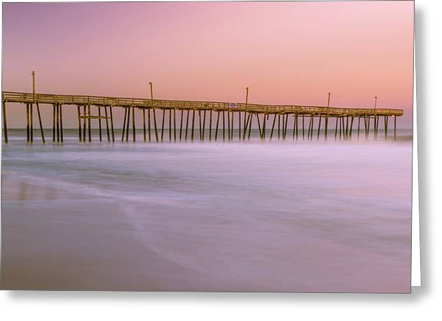 Greeting Card featuring the photograph Sunset At Rodanthe Fishing Pier In Obx Panorama by Ranjay Mitra