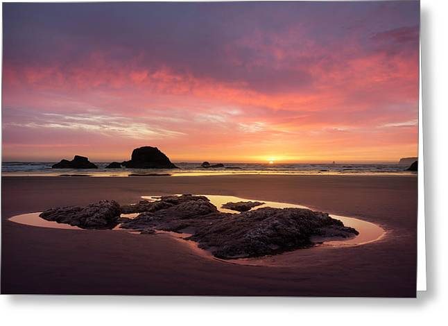 Sunset At Ruby Beach Greeting Card