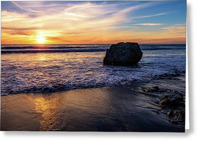 Sunset At San Simeon Beach Greeting Card