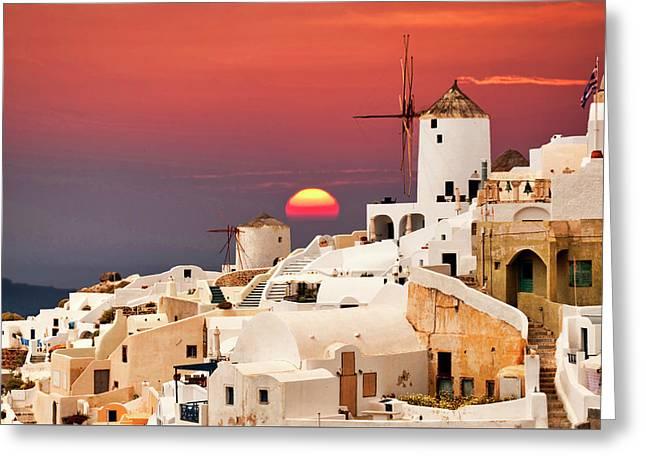 sunset at Santorini Greeting Card