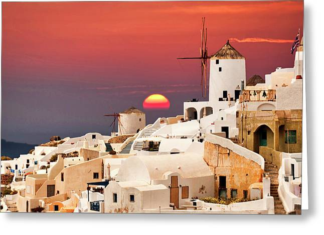 sunset at Santorini Greeting Card
