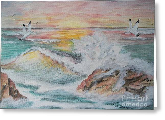 Sunset At Sea Greeting Card by Carol Grimes
