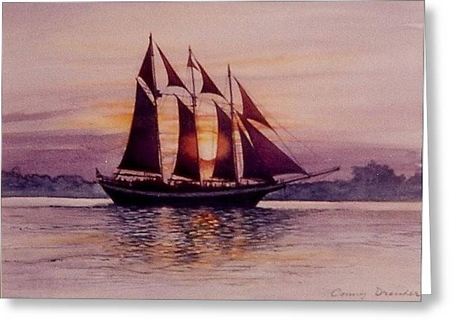 Sunset At Sea Greeting Card by Constance Drescher