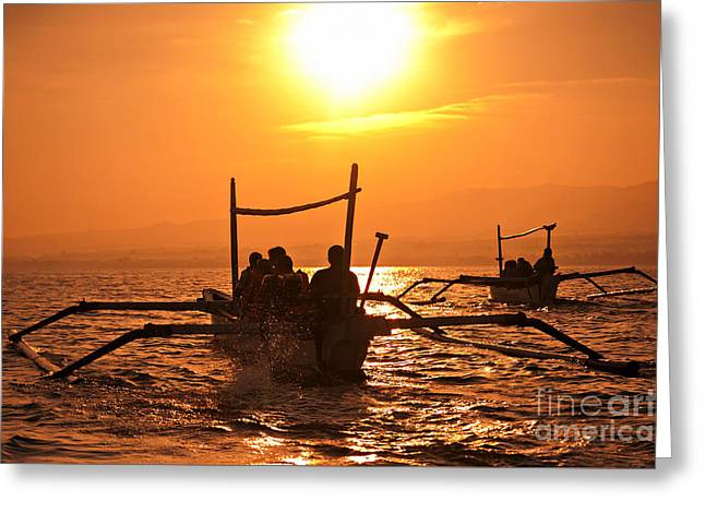 Sunset At Sea Indonesia Greeting Card