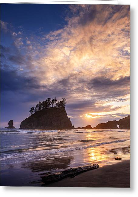 Greeting Card featuring the photograph Sunset At Second Beach by Dan Mihai