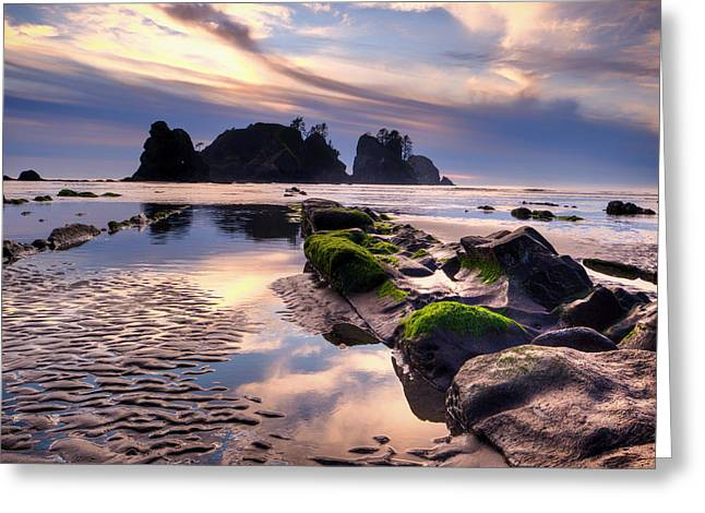 Sunset At Shi Shi Beach Greeting Card by Alvin Kroon