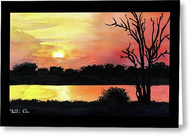 Greeting Card featuring the painting Sunset At Shire River In Malawi by Dora Hathazi Mendes