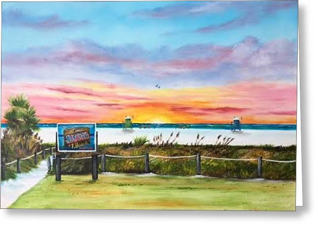 Sunset At Siesta Key Public Beach Greeting Card