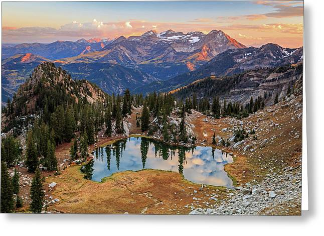 Sunset At Silver Glance Lake. Greeting Card by Johnny Adolphson