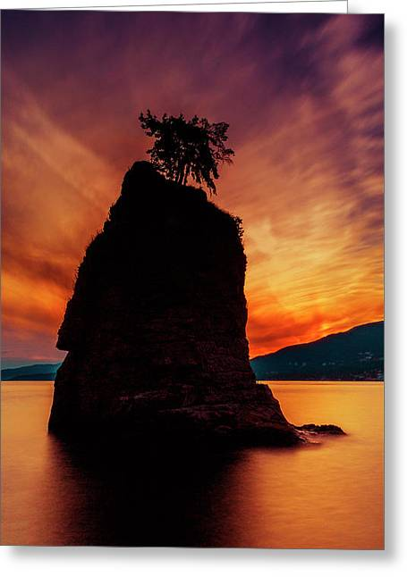 Sunset At Siwash Rock Greeting Card by Stephen Stookey
