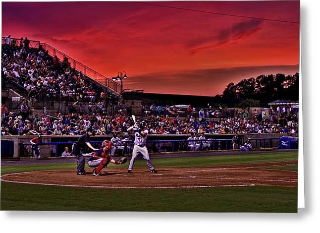 Sunset At State Mutual Stadium Greeting Card by Jason Blalock