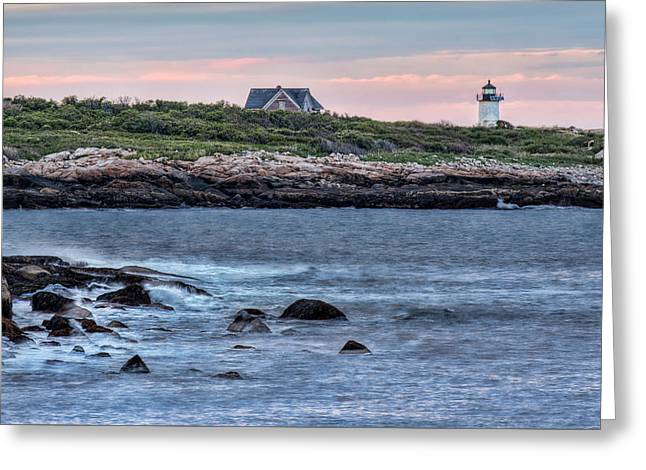 Sunset At Straitsmouth Light Greeting Card
