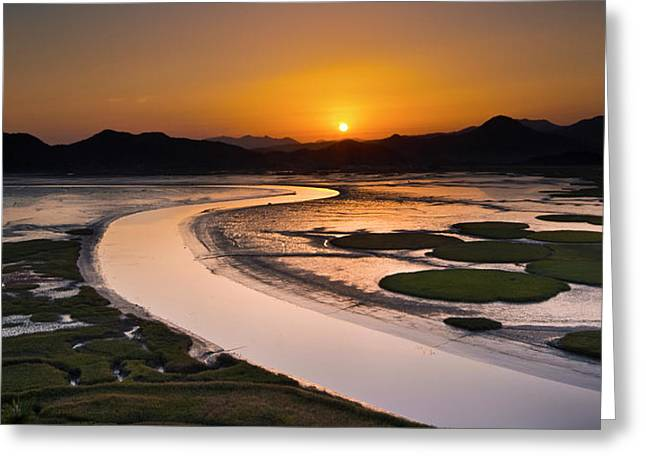 Sunset At Suncheon Bay Greeting Card