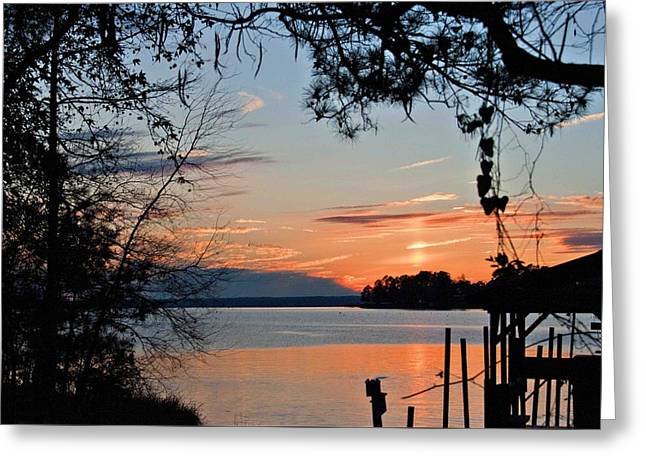 Sunset At Sunset Marina Greeting Card