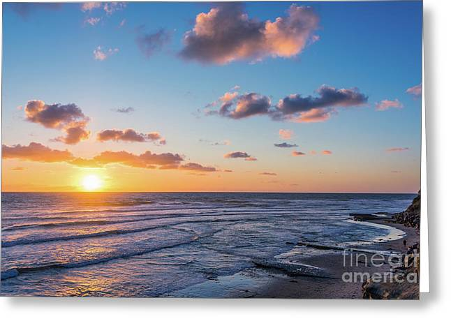 Sunset At Swami's Beach  Greeting Card