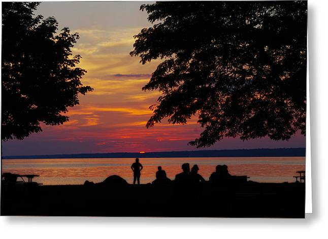 Sunset At Sylvan Beach Greeting Card by Lori Kingston