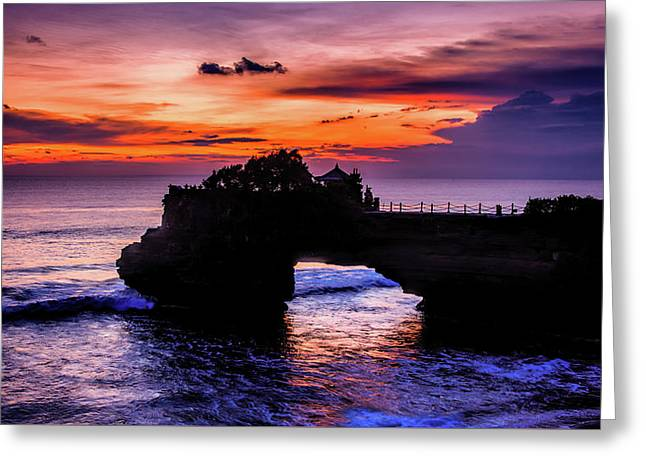 Sunset At Tanah Lot Greeting Card