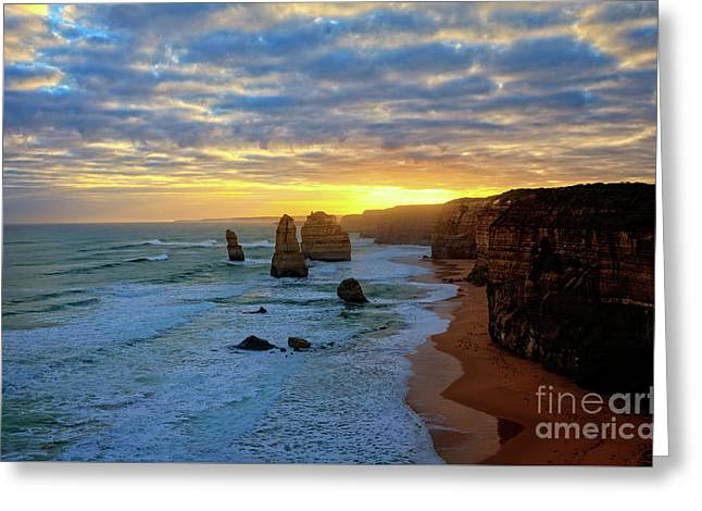 Sunset At The 12 Apostles Greeting Card by Franz Zarda