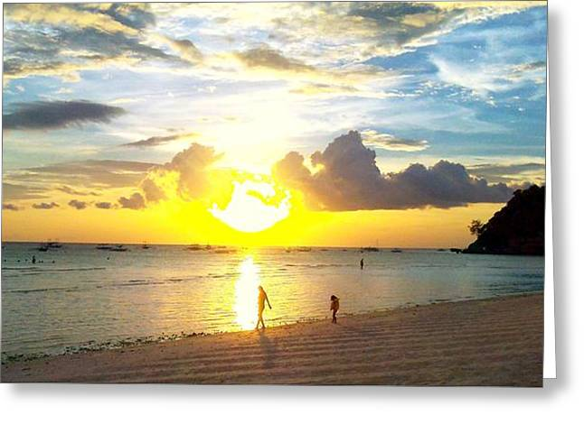 Sunset At The Beach Greeting Card by Dietmar Scherf