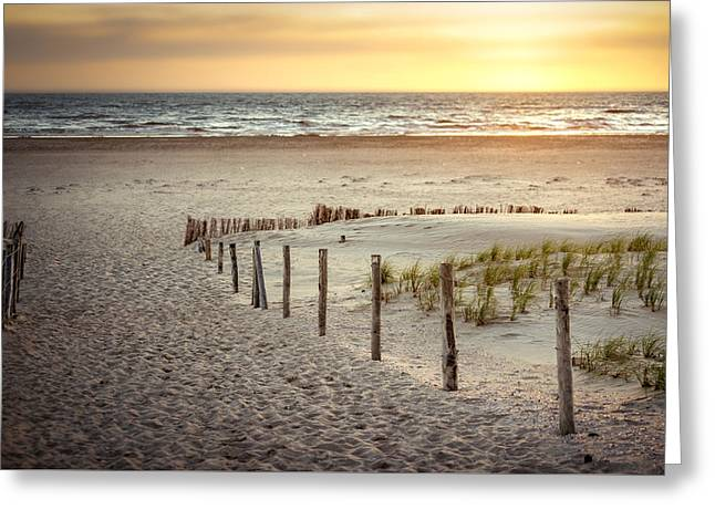 Greeting Card featuring the photograph Sunset At The Beach by Hannes Cmarits