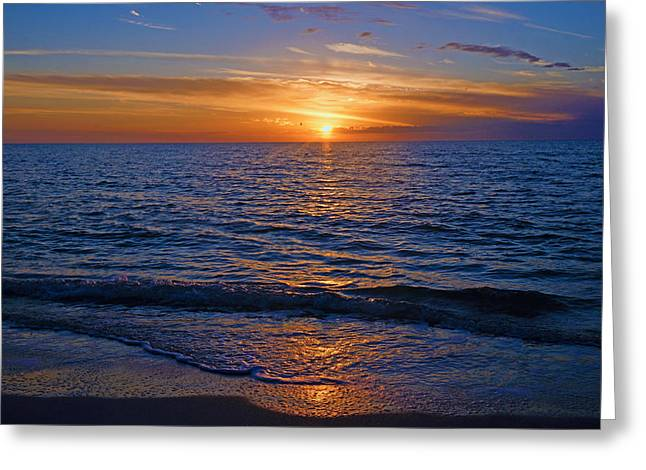 Sunset At The Beach In Naples, Fl Greeting Card