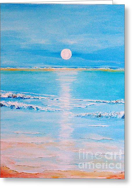 Greeting Card featuring the painting Sunset At The Beach by Teresa Wegrzyn