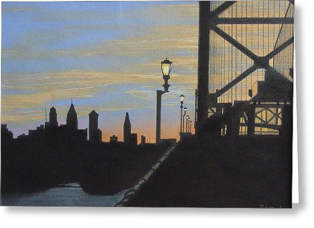 Pa Pastels Greeting Cards - Sunset at the Ben Franklin Bridge Greeting Card by Harvey Rogosin