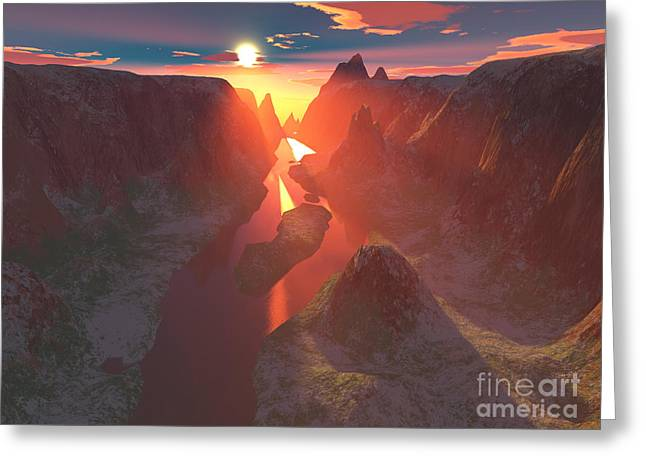 Sunset At The Canyon Greeting Card by Gaspar Avila
