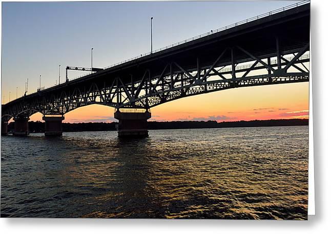 Sunset At The Coleman Bridge Greeting Card